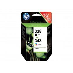HP 338/343 - Pack de 2 - noire, couleurs (cyan, magenta, jaune) - original - cartouche d'encre